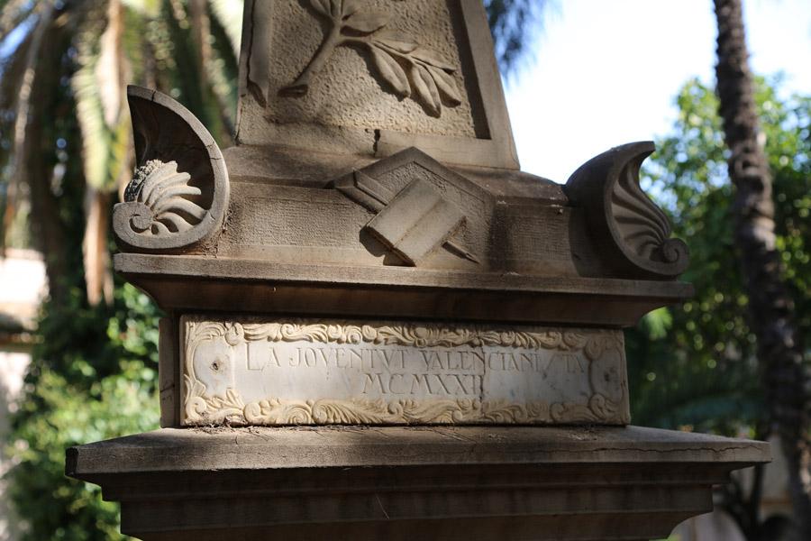 inscripción en el nicho de Constantí Llombart, en el Museo del Silencio. Cementerio General de Valencia