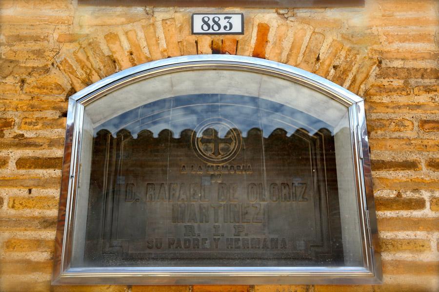 Lápida Rafael Oloriz, en el Museo del Silencio. Cementerio General de Valencia